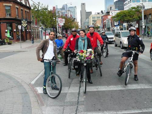 Hi Rocco, Rocco and Himy, where are the others? Oh, there you are Joe, in the back. Photo: Toronto Cyclists Union