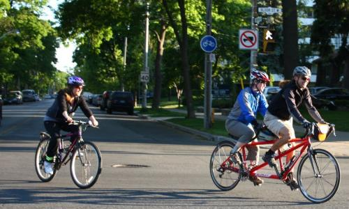 The Best Way to Commute A couple of stragglers at the start of the group commute at High Park and Bloor.