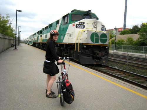Bike on Exhibition GO Train Platform