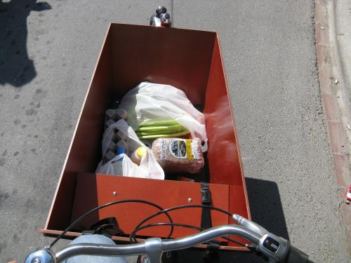 Riding bakfiets with groceries