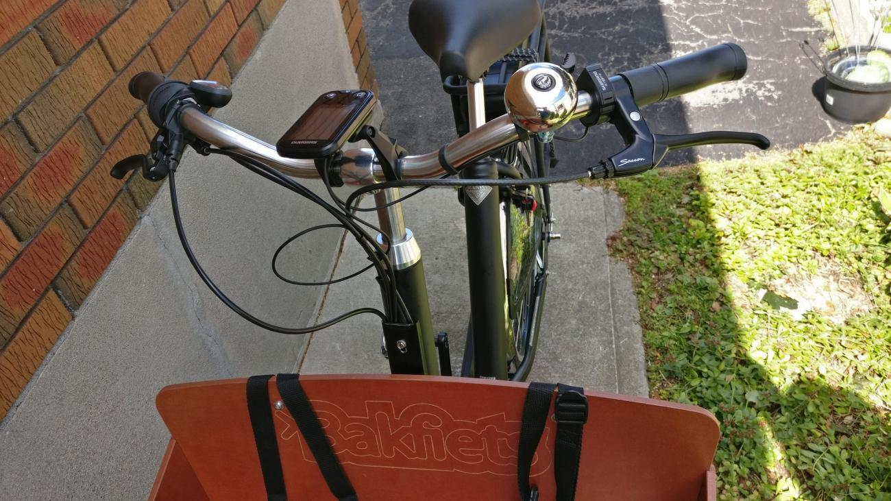 view from box of the handlebars with e-assist computer and seat