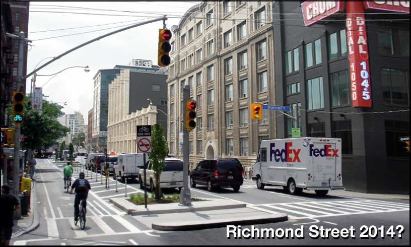 Richmond and Adelaide unidirectional bike lanes