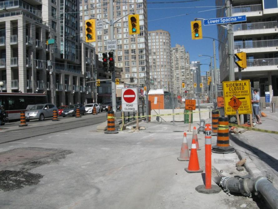 Detour on west end of Queens Quay