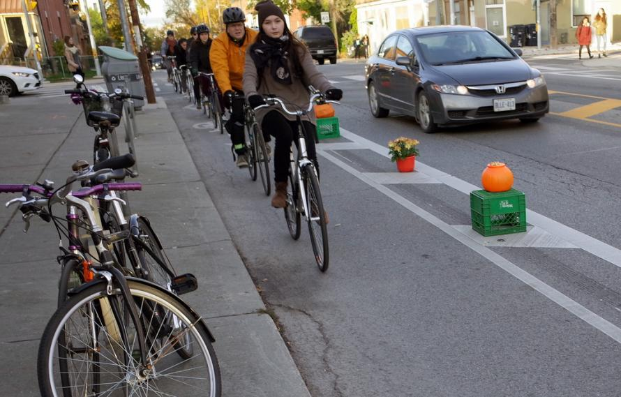 Pumpkin separated bike lanes on Harbord